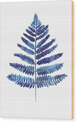 Blue Fern Watercolor Art Print Painting Wood Print by Joanna Szmerdt
