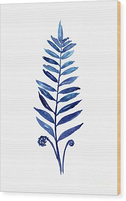 Blue Fern Watercolor Poster Wood Print