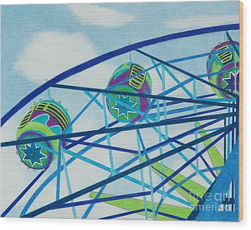 Blue Ferris Wheel Wood Print by Glenda Zuckerman