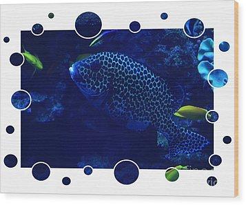 Blue Fish Wood Print by Carol Groenen