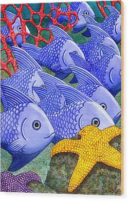 Blue Fish Wood Print by Catherine G McElroy