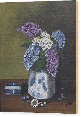 Blue Fish Vase Wood Print by Kim Selig
