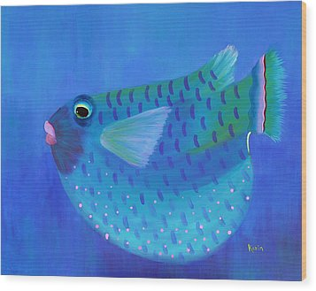 Blue Fish With Pink Lips Wood Print by Karin Eisermann