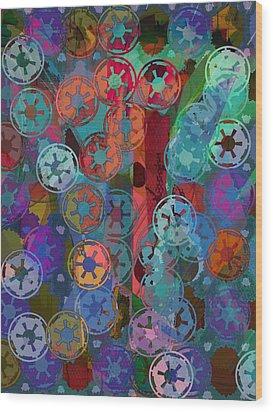 Blue Flakes Wood Print