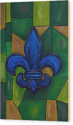 Blue Fleur De Lis Wood Print by Patti Schermerhorn
