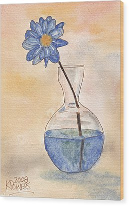 Blue Flower And Glass Vase Sketch Wood Print by Ken Powers