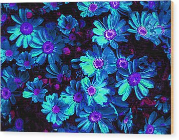 Blue Flower Arrangement Wood Print by Phill Petrovic