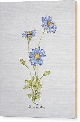 Blue Flower Wood Print by Theresa Marie Johnson