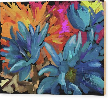 Wood Print featuring the painting Blue Flowers 2 by DC Langer