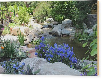 Blue Flowers And Stream Wood Print by Corey Ford