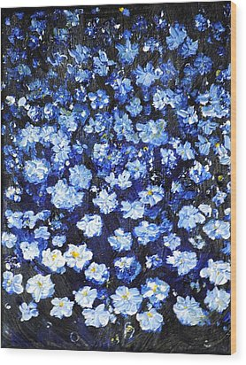 Wood Print featuring the painting Blue Flowers by Evelina Popilian