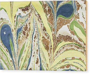 Wood Print featuring the painting Blue Flowers In Spring by Menega Sabidussi