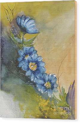 Blue Flowers Wood Print by Sibby S
