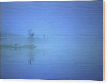 Wood Print featuring the photograph Blue Fog At Skaha Lake by Tara Turner