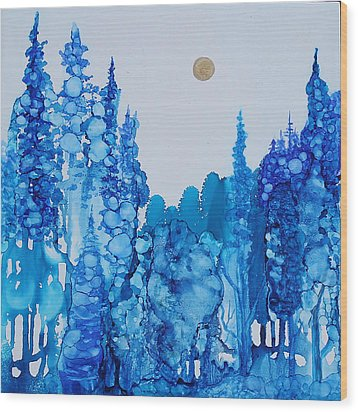Blue Forest Wood Print by Suzanne Canner