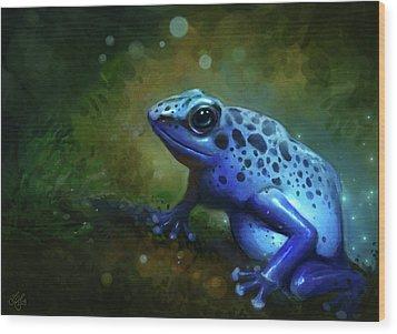 Blue Frog Wood Print by Caroline Jamhour