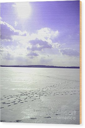 Blue Frozen Lake Wood Print by Silvie Kendall