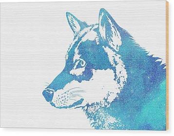 Blue Galaxy Wolf Wood Print