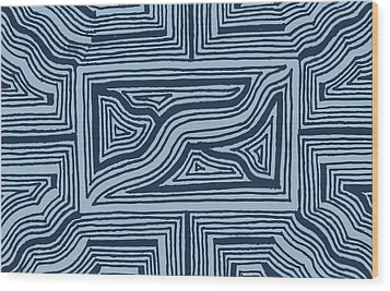 Wood Print featuring the drawing Blue Geo by Jill Lenzmeier