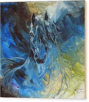 Blue Ghost  Equine Art Original Oil Wood Print by Marcia Baldwin