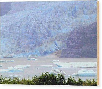 Blue Glacier Wood Print by Mindy Newman