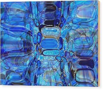 Blue Glass  Wood Print by Fania Simon