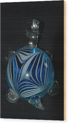 Blue Glass Turtle Wood Print by Rob Hans