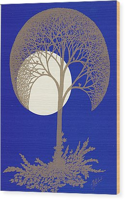 Blue Gold Moon Wood Print by Charles Cater