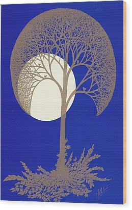 Blue Gold Moon Wood Print