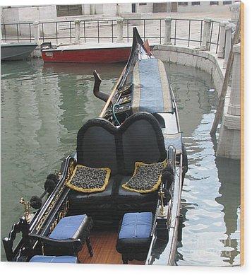 Blue Gondola Wood Print by Italian Art