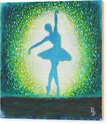 Wood Print featuring the painting Blue-green Ballerina by Bob Baker