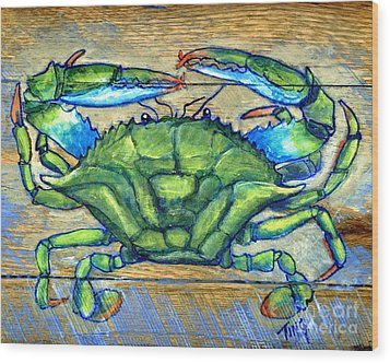 Blue Green Crab On Wood Wood Print by Doris Blessington