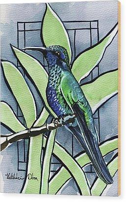 Blue Green Hummingbird Wood Print