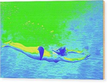 Blue-green Psychedelic Makua Mermaid Wood Print by Erika Swartzkopf