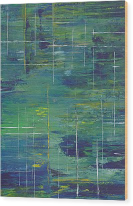 Blue Green Yellow Abstract  Wood Print by Patricia Cleasby