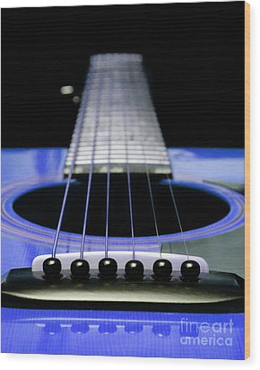 Blue Guitar 14 Wood Print by Andee Design
