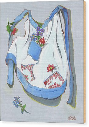 Wood Print featuring the painting Blue Handkerchief Apron by Susan Thomas