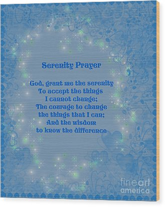 Blue Hearts Serenity Prayer Wood Print