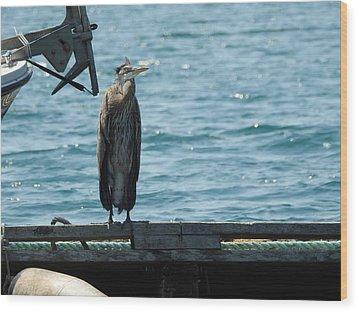 Blue Heron #3 Wood Print
