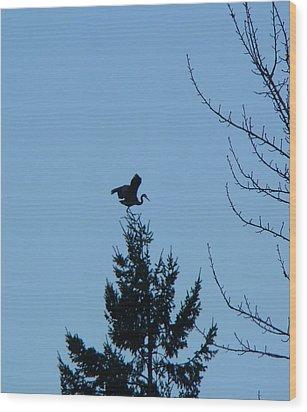 Blue Heron Dance Wood Print