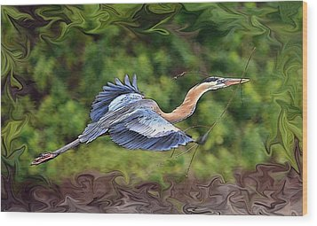 Wood Print featuring the photograph Blue Heron Flight by Shari Jardina