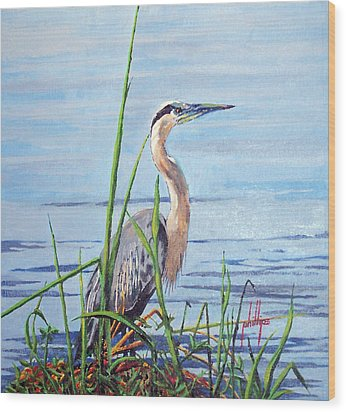 Wood Print featuring the painting Blue Heron by Jim Phillips