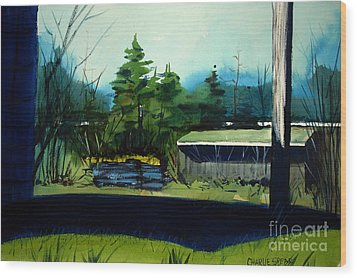 Wood Print featuring the painting Blue Heron Lake Matted, Framed, Glassed by Charlie Spear