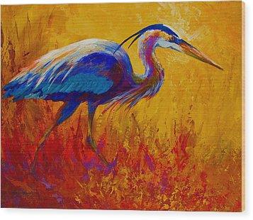 Blue Heron Wood Print by Marion Rose