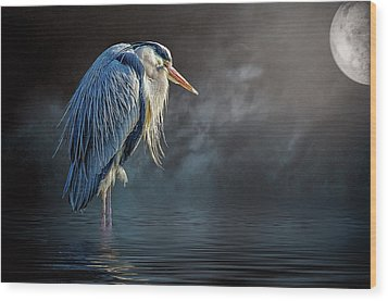Blue Heron Moon Wood Print