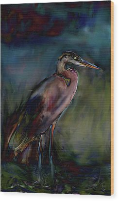 Blue Heron Painting II Wood Print