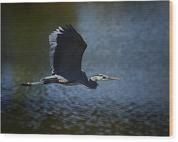 Blue Heron Skies  Wood Print by Saija  Lehtonen