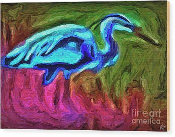 Wood Print featuring the photograph Blue Heron by Walt Foegelle