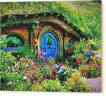 Blue Hobbit Door Wood Print