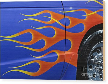 Blue Hot Rod Closeup Wood Print by Oleksiy Maksymenko